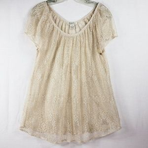 Lucky Brand Sparkly Gold Open Crochet Top Size M